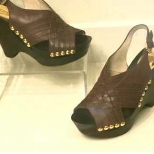 Michael Kors Brown Harlow Gold Stud Wedge Sandals